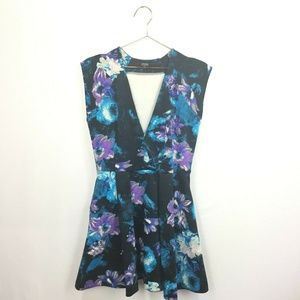 Guess L Large Dress Black Blue Floral Deep V-Neck